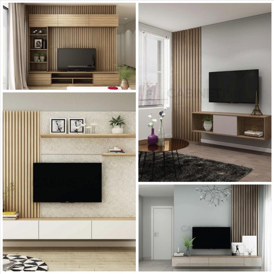 Sự kết hợp hài hòa giữa lam gỗ và mảng tường trắng tạo nên sự sắc sảo, hiện đại cho nội thất phòng khách.